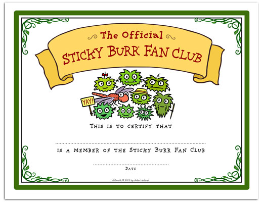 Sticky Burr Fan Club Certificate