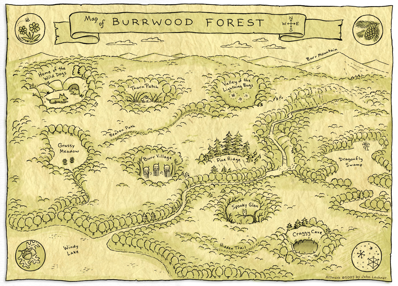 Map of Burrwood Forest
